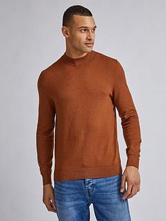 burton-menswear-london-high-neck-jumper-brownnbsp
