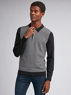 burton-menswear-london-dogtooth-check-long-sleeve-polo-shirt-black