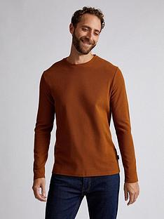 burton-menswear-london-waffle-long-sleeve-t-shirt-brown
