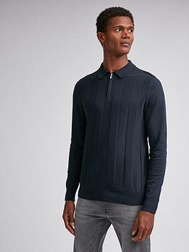 burton-menswear-london-zip-long-sleeve-polo-top-navy