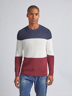 burton-menswear-london-colour-block-crew-neck-jumper-rednavy