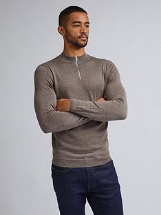 burton-menswear-london-merino-half-zip-neck-jumper-grey
