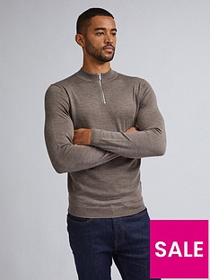 burton-menswear-london-merino-half-zip-neck-jumper-grey