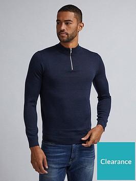 burton-menswear-london-merino-half-zip-neck-jumper-navy