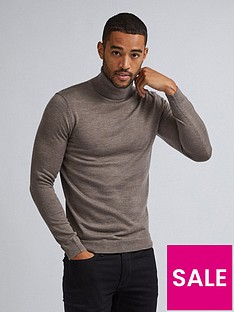 burton-menswear-london-merino-roll-neck-jumper-grey