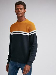 burton-menswear-london-chest-stripe-crew-neck-jumper-navy