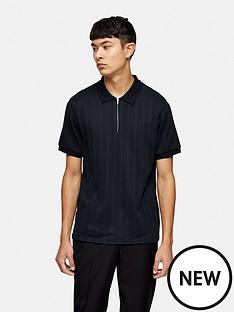 topman-short-sleeve-mesh-polo-navy
