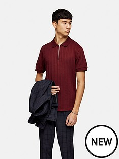 topman-short-sleeve-mesh-polo-burgundy