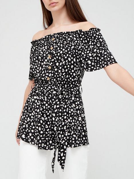 v-by-very-spun-bardot-button-through-blouse-animal-print