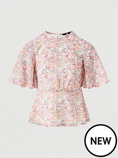 v-by-very-kimono-sleeve-tie-back-top-pink-floral