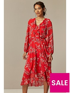 wallis-petite-contrast-floral-midi-dress-red