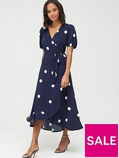 wallis-spot-puff-sleeve-dress-ink