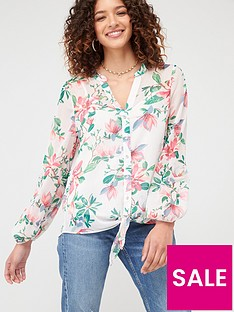 wallis-waterlily-blousonnbspsleeve-blouse-pink
