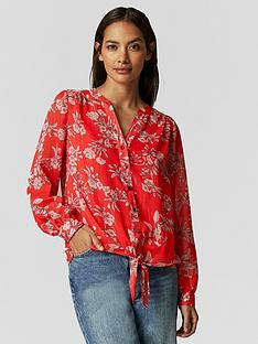 wallis-petite-contrast-floral-tie-hem-blouse-red