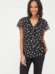 wallis-lurex-spot-frill-top-black