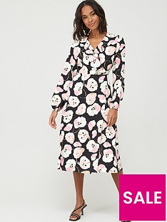 wallis-abstract-poppy-puff-sleeve-dress-black