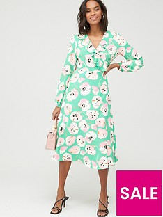 wallis-abstract-poppy-puff-sleeve-dress-green