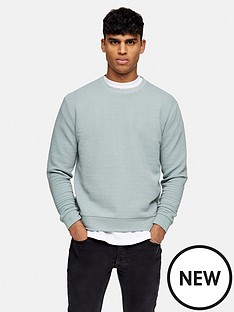 topman-marl-ottoman-sweatshirt-green