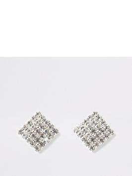 river-island-river-island-square-diamante-earrings-silver