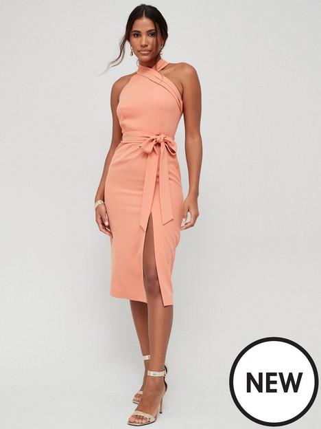 v-by-very-asymmetric-neck-pencil-midi-dress-peach