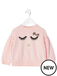 river-island-mini-girls-eyelash-printed-sweat-pink