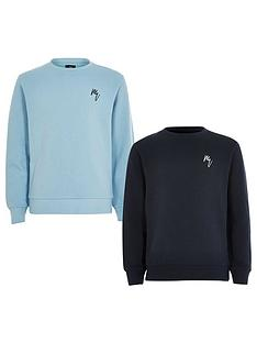 river-island-mini-mini-boys-2-pack-rebel-sweatshirt-blue