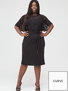 v-by-very-curve-lace-angel-sleeve-pencil-dress-black