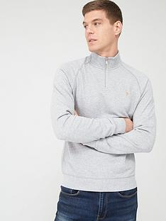 farah-jim-quarter-zip-sweatshirt-light-grey-marl