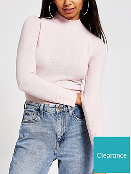 river-island-turtle-neck-knitted-top-pink