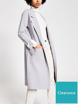 river-island-turn-up-sleeve-knitted-duster-jacket-grey