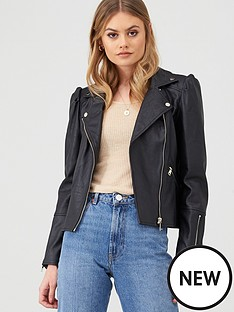 river-island-river-island-faux-leather-puff-sleeve-biker-jacket-black