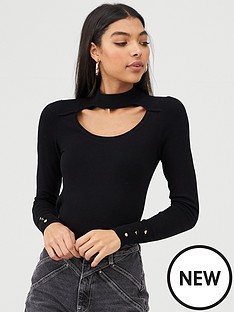 river-island-choker-knitted-top-black