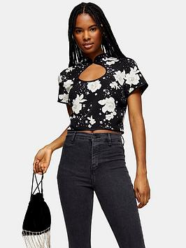 topshop-oriental-keyhole-crop-top-black