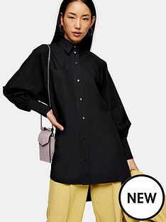 topshop-topshop-oversized-poplin-shirt-black