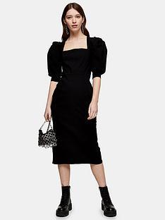 topshop-topshop-square-neck-bengaline-midi-dress-black