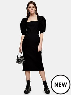 topshop-topshop-square-neck-bengaline-midi-dress-black