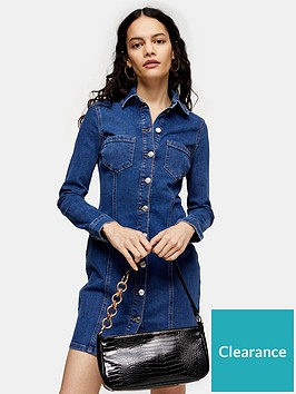 topshop-button-through-denim-stretch-mini-dress-blue