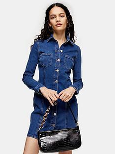 topshop-topshop-button-through-denim-stretch-mini-dress-blue