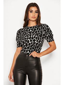 ax-paris-printed-ruched-sleeve-bodysuit-black
