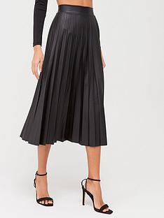 quiz-quiz-pu-pleated-midi-skirt-black