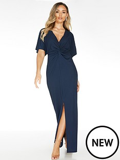 quiz-crepe-knot-front-maxi-dress-navy