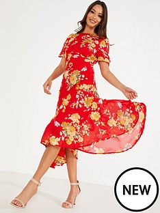 quiz-chiffon-floral-midi-ruched-slit-dress-redyellow