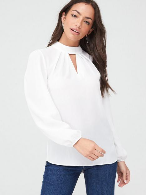 v-by-very-high-neck-keyhole-shell-blouse-ivory