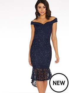 quiz-lace-bardot-frill-hem-midi-dress-blue