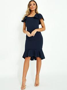 quiz-scuba-square-neck-frill-sleeve-midi-dress-with-frill-hem-navy