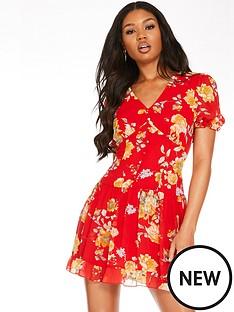 quiz-quiz-redyellow-chiffon-floral-frill-hem-short-dress