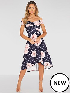 quiz-polka-dot-floral-knot-front-dip-hem-dress-navy