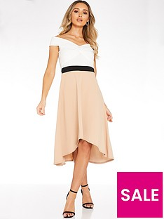 quiz-contrast-hanky-hem-dress-neutral