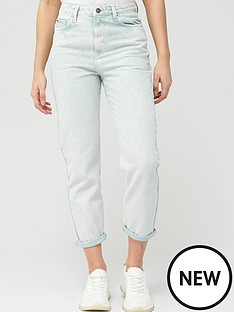 v-by-very-high-waist-acid-wash-mom-jean-mint
