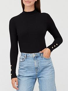 v-by-very-turtle-neck-button-sleeve-detail-jumper-black